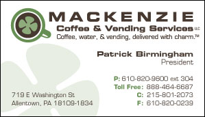 Business Card Design for Mackenzie Coffee & Vending Services by Dynamic Digital Advertising