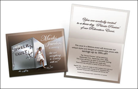 Direct Mail Invitation Design for Marks Jewelers by Dynamic Digital Advertising
