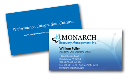 Business Card Design for Monarch Recovery Management by Dynamic Digital Advertising