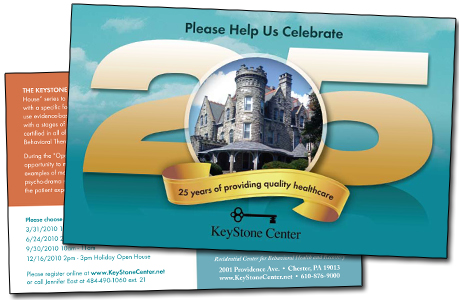 25 Year Anniversary Post card for KeyStone Center